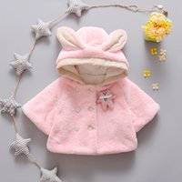 bear hoodie with ears - fashion cute Winter warm Baby Clothes Hoodies Coat child plush Mantles with bear ears hoodielittle Girls Outerwear wholesales pink and white