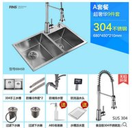 Wholesale set Brushed Stainless Steel Double Bowl Undermount Sink with Faucet kitchen Sink