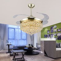 Wholesale Modern Led Crystal Fan Lamp Retractable Ceiling Fan With Lights Ventilador Techo Folding Ac v Remote Control Art Deco Room