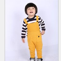 Wholesale 2016 Fashion Unisex Boys Girls Pocket Knitted Overalls Jumpsuits Children Kids Candy Color Bib Harem Pants Baby Clothing