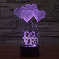 Wholesale 3D Valentine s Day heart shaped balloon LOVE Bulbing Romantic Night Light Lamp Colorful Acrylic home bedroom lamp D TD10