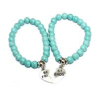 baby bracelets for men - Turquoise Stone mother and baby bracelents Friendship Bracelets Love Charm Jewelry for Women Men Gift Fashion Elastic Beaded Bracelets