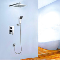 Wholesale PHASAT Square Brass Single Handle Silver Bathroom Shower Set In Wall Classic Shower Faucet Unit With Rainfall