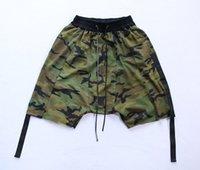 Wholesale 2016 Camouflage Ribbon Drop Out Men Shorts Hip Hop Clothing Kanye West Streetwear Military Jogger Short Sport