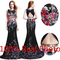 amazing art photo - Real Photo Amazing Petal Power Printed Two Piece Prom Dresses Real Photo Dubai Arabic Mermaid Cheap Occasion Evening Formal Lycra Dress