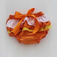 Candy Ruffle Bloomer para bebés Chicas Panties Infantil Toddle Satén Ruffle Bloomer Naranja Recién Nacido Cubierta de pañales Venta al por mayor