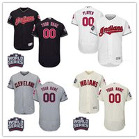 best series - Newest Cleveland Indians Customized World Series Patch Flexbase Collection Jersey navy blue white gray cream Best Stitched for men