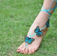 Wholesale Bridal Beach Pool Wear Butterflies Barefoot Sandals Stretch Anklet Chain With Toe Retaile Sandbeach Wedding Bridal Bridesmaid Foot Jewelry