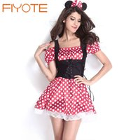 adult minnie costume - FIYOTE Hot Sexy Halloween Cosplay Adult Minnie Mouse Dress LC8829 Red and White Dots Mickey Mistress Costume Sexy Fantasy Dress