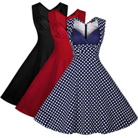 Wholesale New Hot Good Selling Ladies Women Casual Fashion Summer Retro Polka Dot Sleeveless Slim Tutu Dresses Cloths
