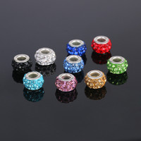 Wholesale Pandora Colorful Glass Beads DIY Accessories Rhinestone Silver plated Big hole Loose beads Fashion Jewelry for Pandora Bracelet Necklace