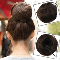 Wholesale Ladies Women Fashion Clip on Synthetic Elastic Contract Dish Hair Bun Tail Hair Extensions