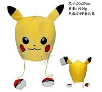 Wholesale 30cm cm Poke Center Pikachu Pokeball Plush Hats Dolls Stuffed Toys Cosplay Winter Hat Cap Cartoon Animal Hat Cute
