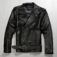 al por mayor los hombres de la chaqueta de cuero de vaca-Otoño-fábrica de 2016 nuevos hombres del 100% cuero auténtico de la chaqueta de los hombres vacuno real becerro piel de la vaca del punk rock del bombardero motorista de la motocicleta Coats
