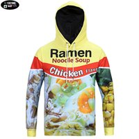 Cheap Wholesale-Europe and America youth fashion 3D Ramen noodle printed hooded sweatshirts men 's jogger sportswear man outdoor coat H7