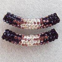 El Rhinestone cristalino curvado libre del tubo del envío 3Pcs 47x9m m pavimenta la joyería apta púrpura de la joyería de Diy de los granos del conectador de la pulsera que hace