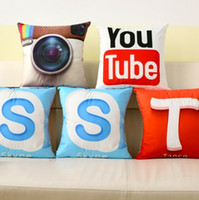 adult youtube - 8 Styles Instant Message Creative APP Design Cushion Covers YouTube Skype Whatsapp Play Pillow Cover Soft Short Plush Pillowcase Present