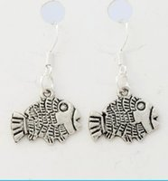 flounder fish - 2016 HOT x17 mm Flounder Fish Earrings Silver Fish Ear Hook Chandelier E036 Chandelier