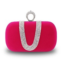 Wholesale Bridal Handbag Red Black Party Bag Wedding Hand Bags Clear Crystal Velour Bag With Metal Train Clutches Brides Accessories Double Chains