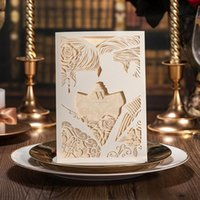 Wholesale Elegant Free Personalized Wedding Invitations Cards laser cut Wedding Accessories Cheap Chic Hollow Chinese Wedding Invitation