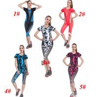 Wholesale 100PCS Women Tight Printed Top Capri Pants Track suit Fitness Outfit Yoga Leggings Clothes Sportswear Set Color LJJJ67