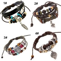 Wholesale Silver Jewerly China - Hot Sale Men Leather Wrap Bracelet Fashion Handmade Alloy Charms Bracelets Wristbands Bangles Jewerly Wholesale Free Shipping 0381WH