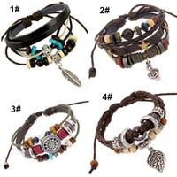 Wholesale Men Leather Bracelets Hot Sale Handmade Wrap Charm Bracelets Wristbands Bangles for Men Fashion Jewerly WH