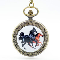 Wholesale Fashion Bronze Galloping Horse Steed Dome Quartz Pocket Watch Analog Pendant Necklace Mens Womens Watches Chain Gift
