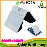 Wholesale Outdoor Solar Sensor Lamps Solar Powered Wall Light PIR Sensor Garden Light Outside Courtyard Lamps PIR Motion Sensor Security Lamps Leds