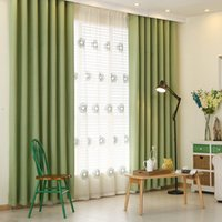 Wholesale Fedex Or Ups Hot Soild Color Curtains Blackout Linen Cotton Green cream coloured Pink Navy Cloth Shades Luxury Curtains