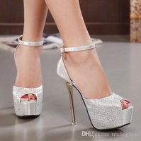 Cheap Sexy Crystal Rhinestone Wedding Shoes Women High Heel Summer Sandals Ladies Prom Dress Shoes Silver Gold Nice