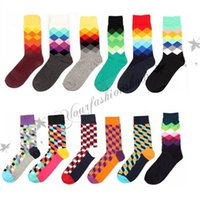 Wholesale New Fashion Brand Happy Socks British Style Plaid Socks Gradient Color Male s Casual Personality Cotton Socks pairs M104