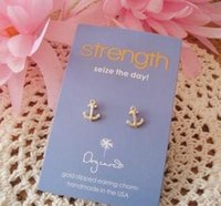 anchor stud earrings - Dogeared Earring with Boat Anchor Strength seize the day noble and delicate no fade and high quality