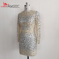 Wholesale 2016 Sexy Sparkly Formal Party Dress Transparent Nude See Through Fully Crystals Beaded Long Sleeves Mini Short Cocktail Dress