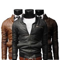 Wholesale Men s fashion jackets collar Slim motorcycle leather jacket coat outwear Hot