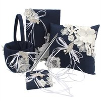 Wholesale Silk Wedding Guest Book - 4pcs Set Navy Lace Flowers Leaf Ring Pillow Cushion Silk Bowknot Ribbon Pearls Pen Set Guest Book Flower Basket Wedding Decoration