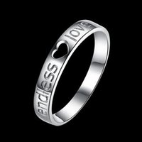 Wholesale 2016 Christmas gift New Cool fashion style Sterling silver Endless love Band Rings white gold plate Engagement anniversary lover ring