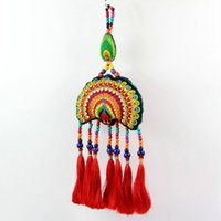 Wholesale Handmade Embroidered peacock wall hanging tapestry Chinese Ethnic Wall Hanging Pendantgadgets carpete tapisserie tapestry fabric