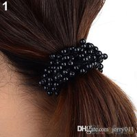 Wholesale Fashion Women Pearls Beads Hair Band Rope Scrunchie Ponytail Holder MWS PZ9