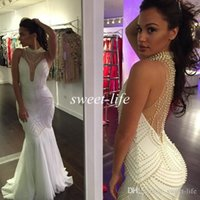 Wholesale Custom Made Plus Size Evening Dresses Mermaid Sexy White Pearls Backless Sheer Halter Celebrity Gowns Bridal Party Formal Prom Dresses