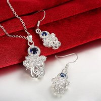 asian modeling - Women s love fashion Character modeling silver necklace earring jewelry sets sterling silver blue gemstone set GTFS119A