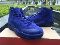 Wholesale Deep Royal Blue Suede s Wool Retro Black Nylon Neoprene Basketball shoes men women Cheap Sneakers For Sale XII Size US4y