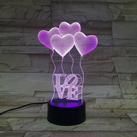 art gifts shop - Creative Touch LED D light illusion love USB Touch Night Light Sculpture Desk Lamp Art Room shop Christmas Decor festival party gift