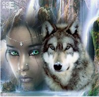 Wholesale 5D Diy Diamond Painting Full Diamond Handmade Crafts Hobby Woman with wolf Unfinished Needles Diamond Embroidery