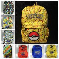 Wholesale Poke Backpack Pikachu Charmander School Bag anime canvas backpack casual shoulder bag Laptop Travel Work Bag LJJO624