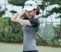 Wholesale Ropa Deportiva Women Running Shirts Badminton t shirt Fitness Clothes Gym Jogging Running Grey Blue Green X Large