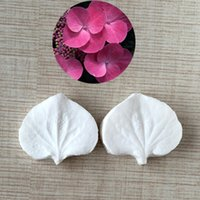 Wholesale Hydrangea Petals And leaves Shapes D Silicone Sugarcraft Moulds Fondant Cake Decorating Tools Silicone Soap Moulds