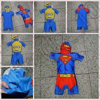 Wholesale 200PCS LJJM166 Boys Superman Minions Swimsuit Monokini Swimwear With Hats Bathing Beach Wear Costume Boys Surf Swimsuit