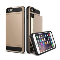 Wholesale Hot Luxury Slim Hybrid Credit Card pocket wallet pouch Phone case PC Back Cover for Apple iPhone s inch cases