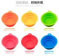 Wholesale Luxury Pet Silica Gel Bowl Pet Dog Folding Portable Bowls For Dog Feeders Colors Available